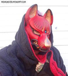 PAINTED KITSUNE MASK- 1ST EDITION (Missmonster on myshopify.com, 2014) Japanese Mask, Japanese Costume, Kitsune Maske, Oni Mask, Paintball Mask, Japanese Drawings, Cool Masks, Animal Masks, Masks Art