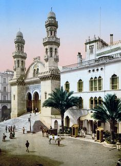 Ketchaoua Mosque built in 1612 - Algiers, Algeria.  Photographed in 1899, during the period when it was converted into the French colonial Cathedral Saint-Philippe d'Alger (1845-1962)