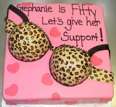 Image detail for -Leopard print sexy bra 50th birthday cake with pink base cake and ...cute bday cake idea