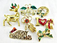 Vintage Christmas Brooch Pin Lot, Gold Enamel Rhinestone Brooches, Wreath Bell Bow Deer Brooches, Costume Jewelry Lot, Gift for Mom Grandma by RedGarnetVintage