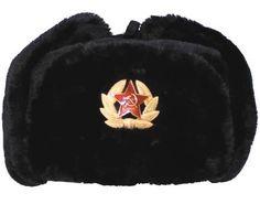 MFH Russische Fellmütze, schwarz, mit Abzeichen / mehr Infos auf: www.Guntia-Militaria-Shop.de
