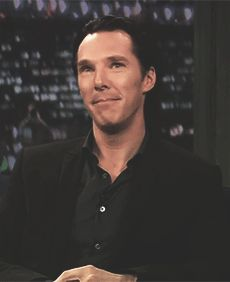 """He was asked """"Benedict Cumberbatch fans are called..."""" He paused, makes this face and whispers """"Bitches"""" LOOKIT HIS FAAACE! Gif set"""