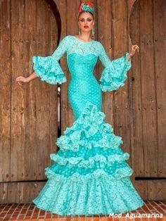 aguamarina-traje-de-flamenca Spanish Art, Fishtail, Tutu, Cinderella, Mermaid, Gowns, Dance, Disney Princess, Sewing