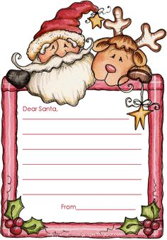 Letter to Santa free templates - just print - write and post to the North Pole :)