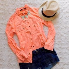 Zara Trafaluc Neon Button Down Blouse NWT, never worn. Size XS but would also fit a small. Made of 100% lyocell. Smoke/pet free home. Ask all questions before buying. No trades! ❌ Bundle for a discount  •shorts, necklace & hat NFS• Zara Tops Button Down Shirts