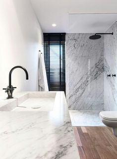 Love carrera marble and this big ol sink and shower