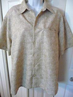 Weatherproof Garment Co Mens Hawaiian Shirt M Medium Short Sleeve Tan Beach Huts #WeatherproofGarmentCompany #Hawaiian