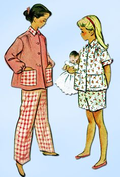 1950s Vintage McCalls Sewing Pattern 8605 Toddler Girls 2 PC Pajamas Size 6  24B bf4480b04