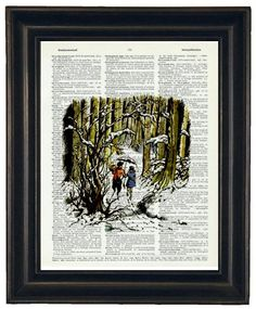 Hey, I found this really awesome Etsy listing at https://www.etsy.com/listing/97615053/bogo-sale-upcycled-art-narnia-print-on