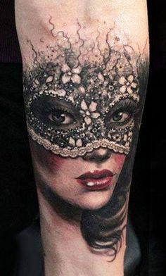 A little ink for Mardi gras mask tattoo
