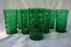 Vintage Emerald Green Ribbed Glassware, Set of 8 Drinking Glasses