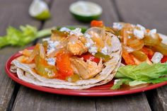 Easy Baked Buffalo Chicken Fajitas from preventionrd.com  Just like baked fajitas but use buffalo wing sauce instead of fajita seasoning and top with crumbled blue cheese.