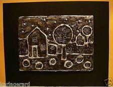 "House Two 5 x 7"" FOLK ART ABSTRACT Prim Foil Relief ART PIECE ORIGINAL Karla G"