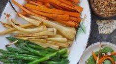 Carrots and parsnips pair naturally with one another and are sweet and delicious when roasted Vegan Gluten Free, Vegan Vegetarian, A Food, Food And Drink, Asparagus Spears, Roasted Root Vegetables, Super Greens, Just Cooking, Baby Spinach