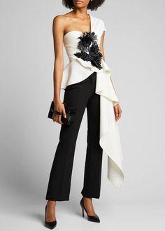 Oscar de la Renta One-Shoulder Asymmetric Crepe Blouse with Fringe Detail - Bergdorf Goodman Trendy Fashion, High Fashion, Womens Fashion, Fashion Trends, Fashion Fashion, Mode Chic, Overall, Elegant Dresses, Designer Dresses