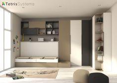 #Dormitorio #juvenil con #cama #abatible y #nido 190 x 90 - 515-0207B