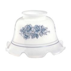 """#Glass Lamp #Shade White w/ Blue Flowers Ruffled 3 1/4"""" Fitter # 18184 Shop --> http://www.rensup.com/Lamp-Shade/Lamp-Shades-Blue-Glass-Lamp-Shade-3-1-by-4-inch-Fitter/pd/18184.htm"""