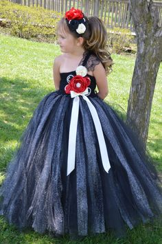 Black Red and Ivory flower girl Tutu Dress by TutuSweetBoutiqueINC on Etsy https://www.etsy.com/listing/189014109/black-red-and-ivory-flower-girl-tutu