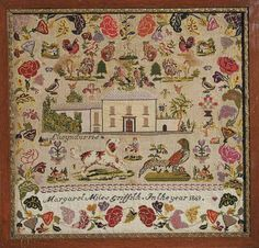 Sampler made in Llwyndyrus by Margaret Miles Griffith In the year 1869.  Gorgeous.