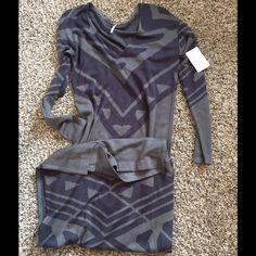 NWT Free People Maxi dress XS Super cute long sleeve light sweater dress two tone gray. I would say XS-S $168 retail Free People Dresses Maxi
