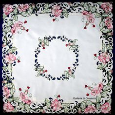 """Lucky Ladybugs Lace 33"""" Table topper Tablecloth Doily Pink Flower"""