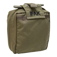 """SOF-IFAK  Key Features: • Single layer construction • Double Internal Pockets • Elastic loops • Velcro® strap at base to secure a 3"""" roll of medical tape • Large mesh pouch with draw string (Designed to store 500ml IV bag and starter kit) • Outer Front pocket designed to hold CAT tourniquet for immediate access • Custom designed internal organizer • Comes with Velcro® backed removable insert (SOF-IMAPI) • Safely secures medical items • Provides rapid access to basic load of medical items"""