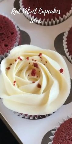 # Piping Tip Rose Flower Large Size Red Velvet Cupcakes is a nice idea for your wedding) You can create your own cupcakes for special holidays : birthday, party, mother's day with our tools) Enjoy! Cupcake Decorating Tips, Cake Decorating Techniques, Large Cupcake Cakes, Buttercream Flowers Tutorial, Professional Cake Decorating, Cake Piping, Frosting Tips, Red Velvet Cupcakes, Cute Desserts