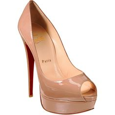 Christian Louboutin Lady Peep Platform Pumps ($945) ❤ liked on Polyvore featuring shoes, pumps, heels, sapatos, christian louboutin, nude, nude patent pumps, platform shoes, nude pumps and stiletto heel pumps