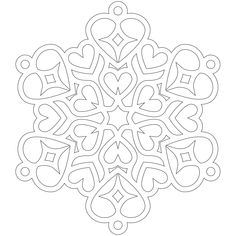 Snowflake Hearts coloring page