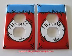 Dr. Seuss Hand Painted Cat in the Hat Thing 1 Thing 2 Outlet Plate. $10.99, via Etsy.