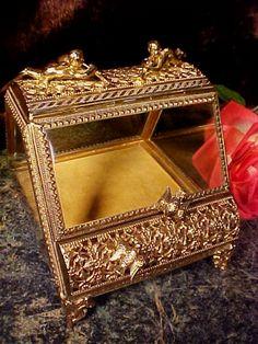 RARE Gilt Gold Ormolu Jewelry Casket Box BIRDS ANGELS CHERUBS Matson Stylebuilt!   eBay