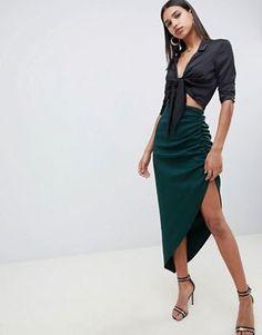 06fceb9825 ASOS DESIGN scuba tube maxi skirt with ruching detail Fashion Mag