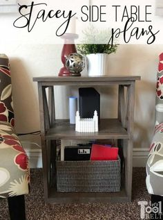 This is a quick little side table with X detail. Stacey is using this side table to hold her Comcast router on the upper shelf and a basket of magazines on the bottom shelf. Although it could be… More Diy Furniture Projects, Diy Home Decor Projects, Furniture Makers, Tool Belt, Table Plans, Craft Projects For Kids, Saving Ideas, How To Plan, Diy Side Tables