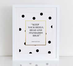 Keep Your Heels Head And Standards High Coco Chanel Quote Fashion Art Print, Instant Download,  Printable Home Decor, Chanel Art Print