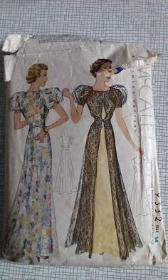 McCall 9332   1937 Ladies' & Misses' Redingote Evening Dress