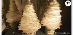 Noël 2013 : des petits sapins en papier pour un centre de table festif - DIY