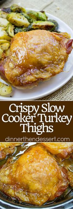 hours on high setting) Crispy Slow Cooker Turkey Thighs are juicy, crispy, tender and a total breeze to make on a weeknight! Also includes 10 different ways to add different flavors with almost no effort! Slow Cooker Turkey, Crock Pot Slow Cooker, Cooking Turkey, Slow Cooker Chicken, Turkey Thigh Recipe Slow Cooker, Turkey Meals, Crock Pot Recipes, Slow Cooker Recipes, Cooking Recipes