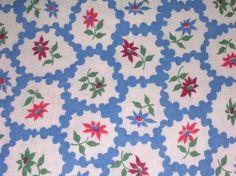 Antique Vintage Cross Hatch Check Plaid Blue Cotton Fabric ~ Feedsack type ~