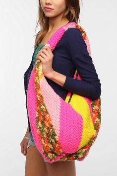 Urban Renewal Crocheted Hobo Bag - brights, darks, or lights