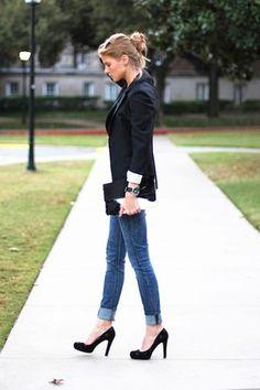 timeless black blazer and black pumps