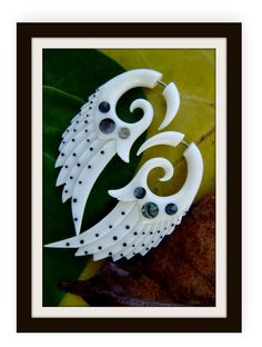Items similar to Fake Gauge Earrings - Natural White Bone Fancy Feather Tribal Style Expanders Hand Carved Organic Fake Piercings on Etsy Fake Gauge Earrings, Diy Earrings, Fake Piercing, Ear Piercings, Etsy Jewelry, Jewelry Crafts, Fake Plugs, Water Buffalo, Feather Design