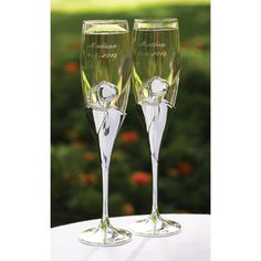 Personalized Bling Hearts Flutes. I need these for my wedding reception.