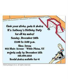 Birthday Party Invitation Play Hockey Hockey birthday parties