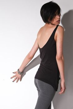 Low Back Tank Top - Womens Black Resort Tops Le Deux. $26.00, via Etsy.