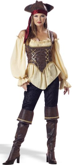 Love the pirate hat and corset!    Rustic Pirate Lady Adult Costume