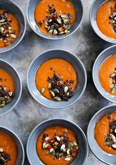 Composition: tomato soup with chorizo.