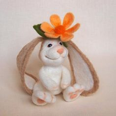 Bunny With A Flower Needle Felted Bunny Wool Soft by FluffyFuzzy, $35.00