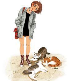 Instagram media by mjj_nz - #sleeping #cats #illustration #character #design