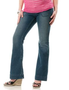 Motherhood Maternity: No Belly Patch Pocket Fit And Flare Maternity Jeans $24.99