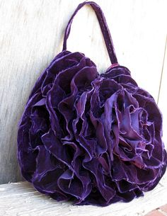 Purple Deconstructed Velvet Ruffle Rosette Hobo Bag by Stacy Leigh on Etsy